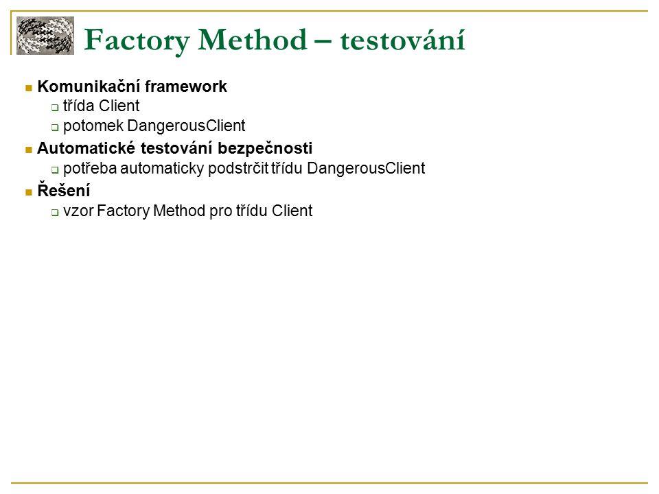 Factory Method – testování Komunikační framework  třída Client  potomek DangerousClient Automatické testování bezpečnosti  potřeba automaticky podstrčit třídu DangerousClient Řešení  vzor Factory Method pro třídu Client