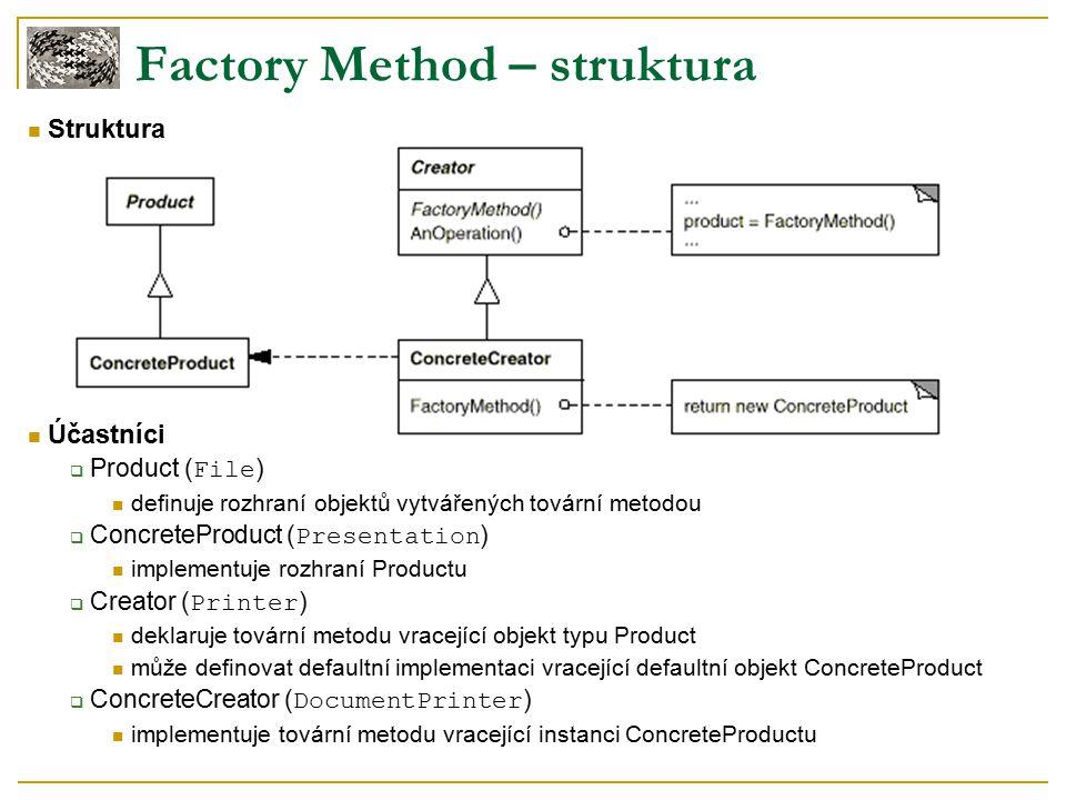 Struktura Účastníci  Product ( File ) definuje rozhraní objektů vytvářených tovární metodou  ConcreteProduct ( Presentation ) implementuje rozhraní Productu  Creator ( Printer ) deklaruje tovární metodu vracející objekt typu Product může definovat defaultní implementaci vracející defaultní objekt ConcreteProduct  ConcreteCreator ( DocumentPrinter ) implementuje tovární metodu vracející instanci ConcreteProductu Factory Method – struktura