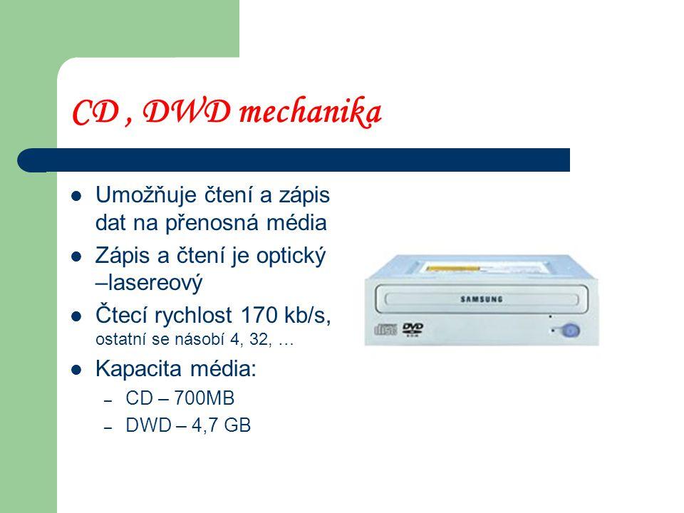 Pevný disk - HARDDISK Jsou na něm uložena všechna data a programy Záznam a čtení dat je elektromagnetický Kapacita 40 – 180 GB