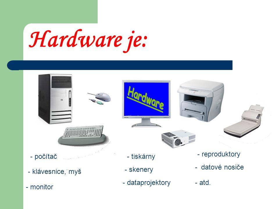 Hardware : oZoZnamená - hard = těžký - ware = zařízení, vybavení oFoFyzické vybavení počítače oJoJe to vše, co se dá vzít do ruky a je to spojeno s počítačem.