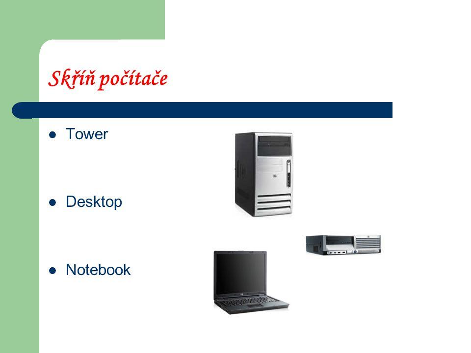 Hardware – části počítače Skříň Zdroj Základová deska Operační paměť Procesor Harddisk CD, DVD mechanika Karty