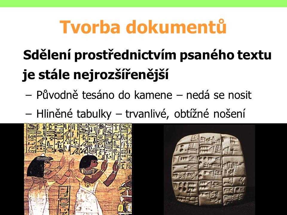 Sdělení prostřednictvím psaného textu je stále nejrozšířenější –Původně tesáno do kamene – nedá se nosit –Hliněné tabulky – trvanlivé, obtížné nošení
