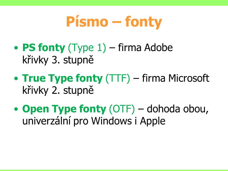 PS fonty (Type 1) – firma Adobe křivky 3. stupně True Type fonty (TTF) – firma Microsoft křivky 2. stupně Open Type fonty (OTF) – dohoda obou, univerz