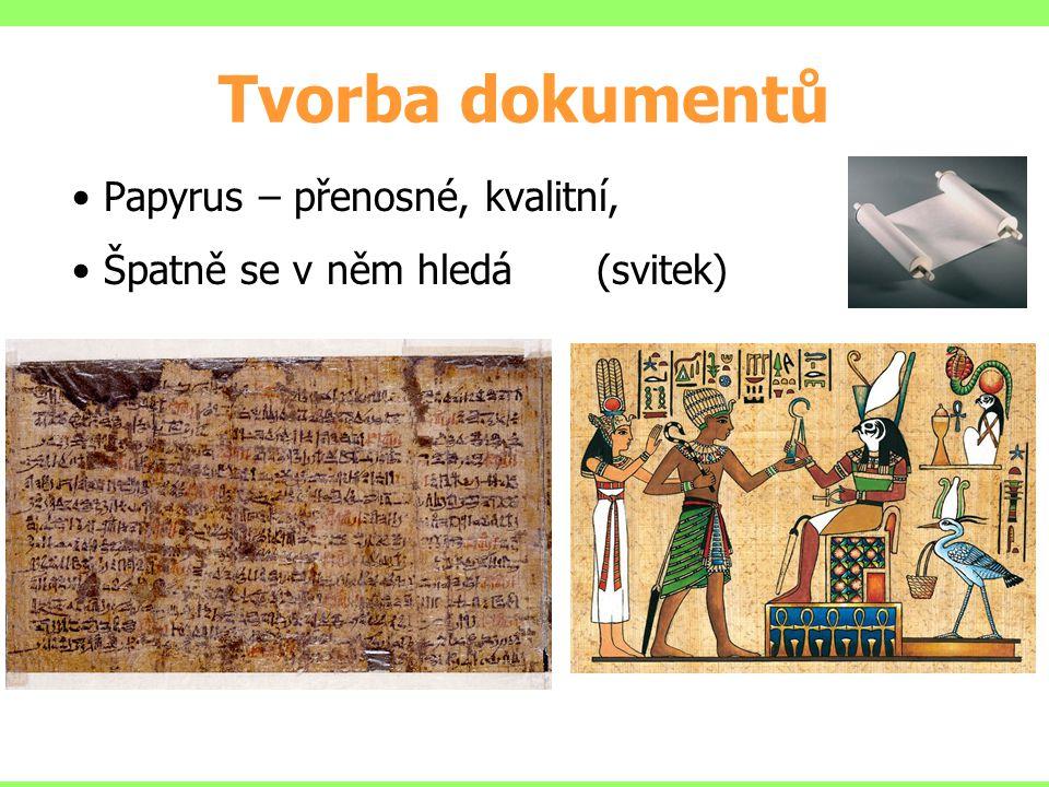 Tvorba dokumentů Papyrus – přenosné, kvalitní, Špatně se v něm hledá (svitek)