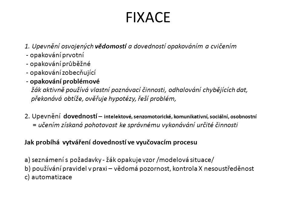 FIXACE 1. Upevnění osvojených vědomostí a dovedností opakováním a cvičením - opakování prvotní - opakování průběžné - opakování zobecňující - opakován