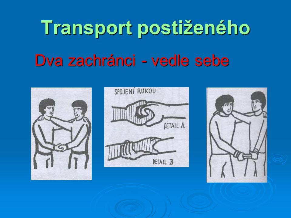 Transport postiženého Odnesení dítěte v náručí  vhodné pro zraněné menší hmotnosti, například děti  jestliže je zraněný při vědomí, může se držet zachránce kolem ramen (nikoli kolem krku)