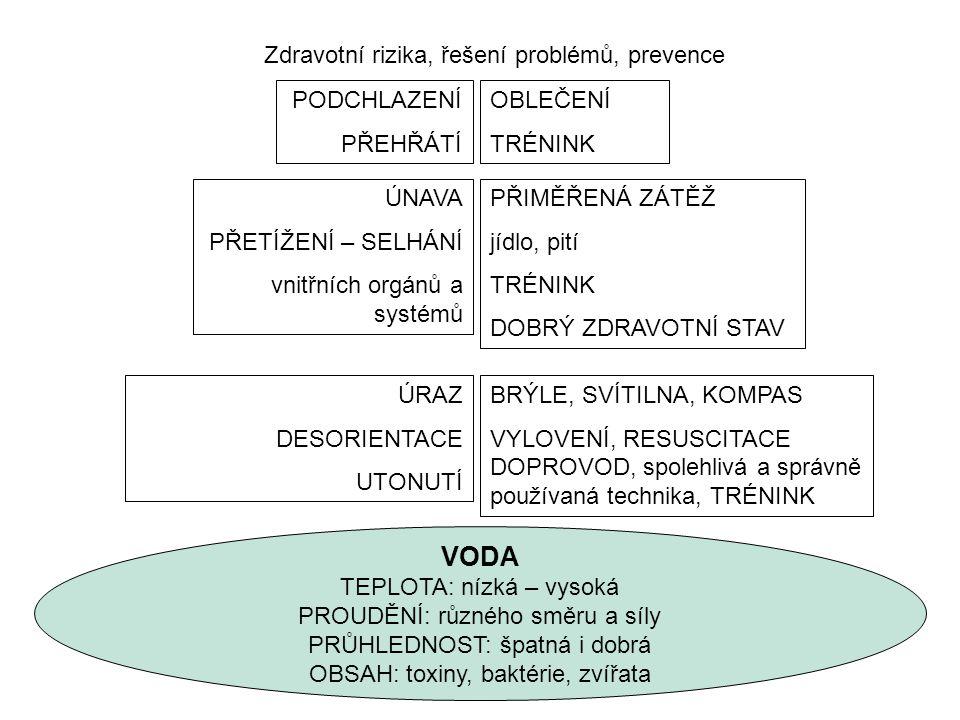 VODA TEPLOTA: nízká – vysoká PROUDĚNÍ: různého směru a síly PRŮHLEDNOST: špatná i dobrá OBSAH: toxiny, baktérie, zvířata Zdravotní rizika, řešení prob