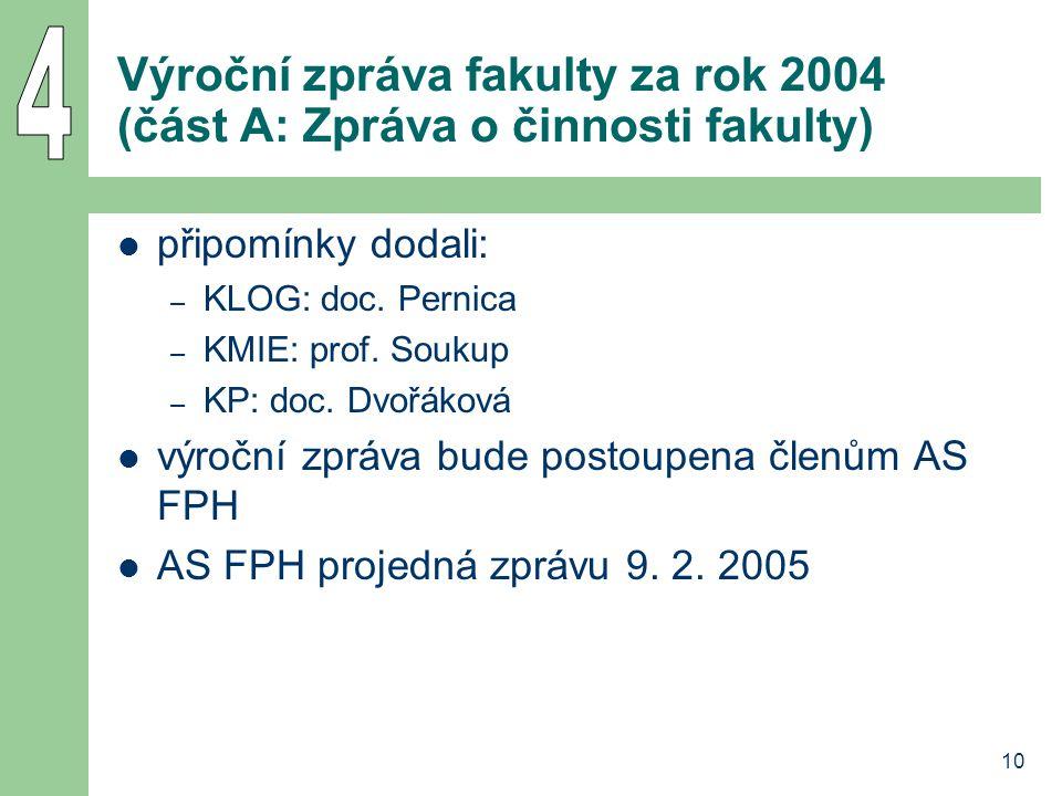 10 Výroční zpráva fakulty za rok 2004 (část A: Zpráva o činnosti fakulty) připomínky dodali: – KLOG: doc. Pernica – KMIE: prof. Soukup – KP: doc. Dvoř