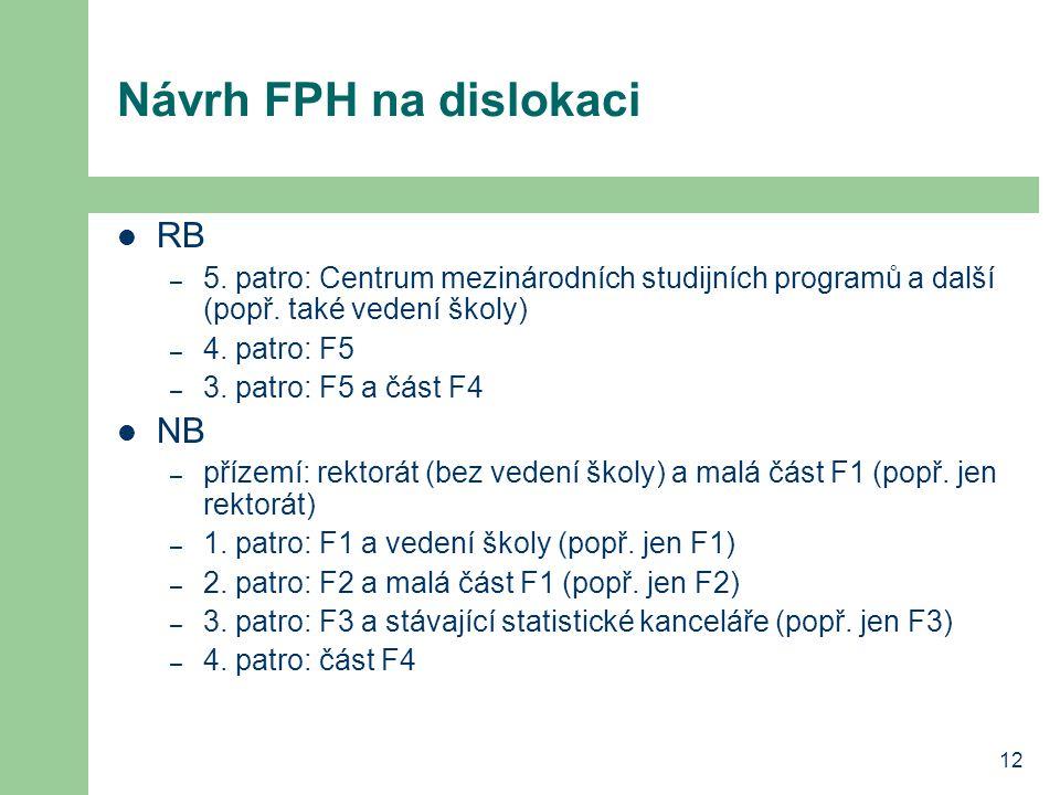 12 Návrh FPH na dislokaci RB – 5. patro: Centrum mezinárodních studijních programů a další (popř. také vedení školy) – 4. patro: F5 – 3. patro: F5 a č