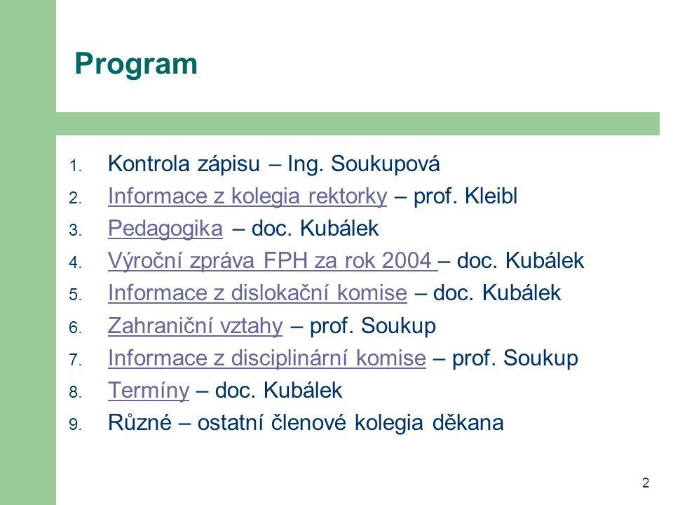 2 Program 1. Kontrola zápisu – Ing. Soukupová 2.