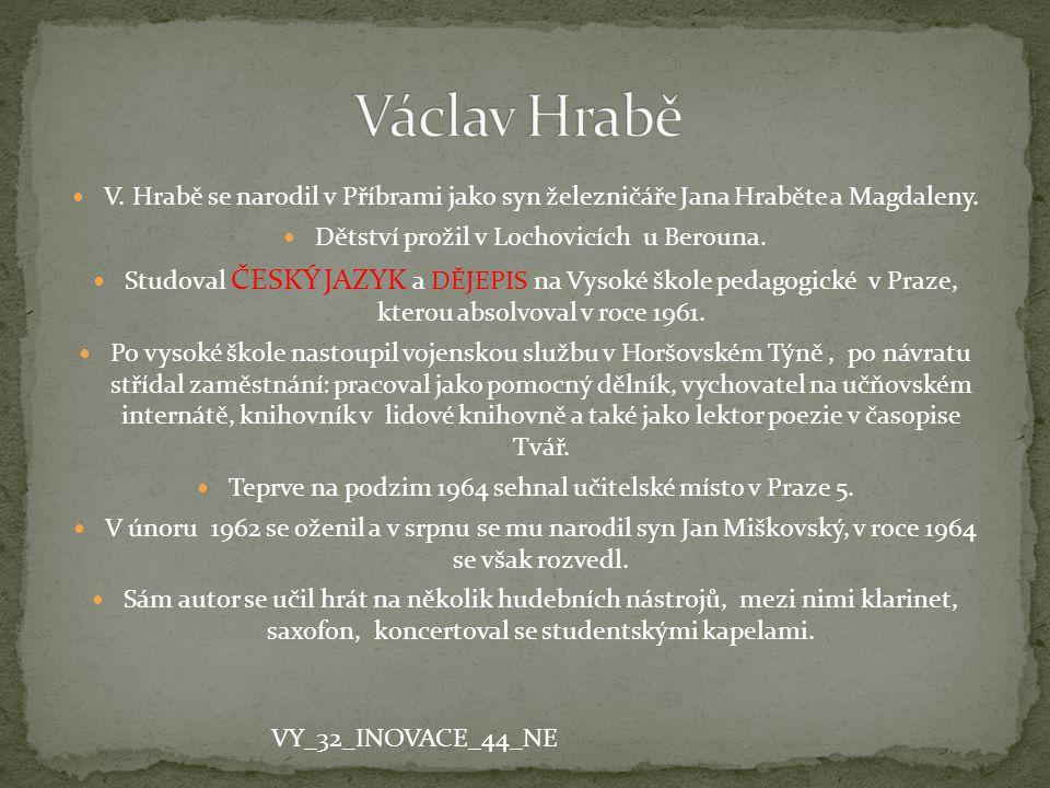 V. Hrabě se narodil v Příbrami jako syn železničáře Jana Hraběte a Magdaleny. Dětství prožil v Lochovicích u Berouna. Studoval ČESKÝ JAZYK a DĚJEPIS n