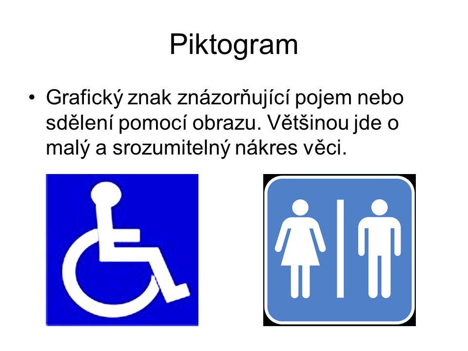 Piktogram Grafický znak znázorňující pojem nebo sdělení pomocí obrazu. Většinou jde o malý a srozumitelný nákres věci.