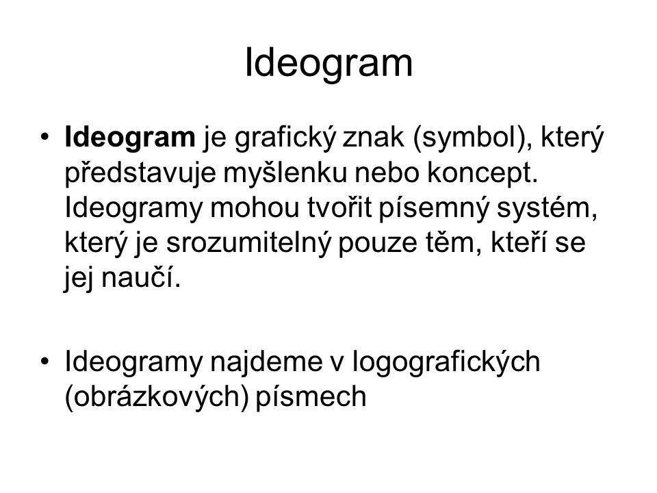 Ideogram Ideogram je grafický znak (symbol), který představuje myšlenku nebo koncept. Ideogramy mohou tvořit písemný systém, který je srozumitelný pou