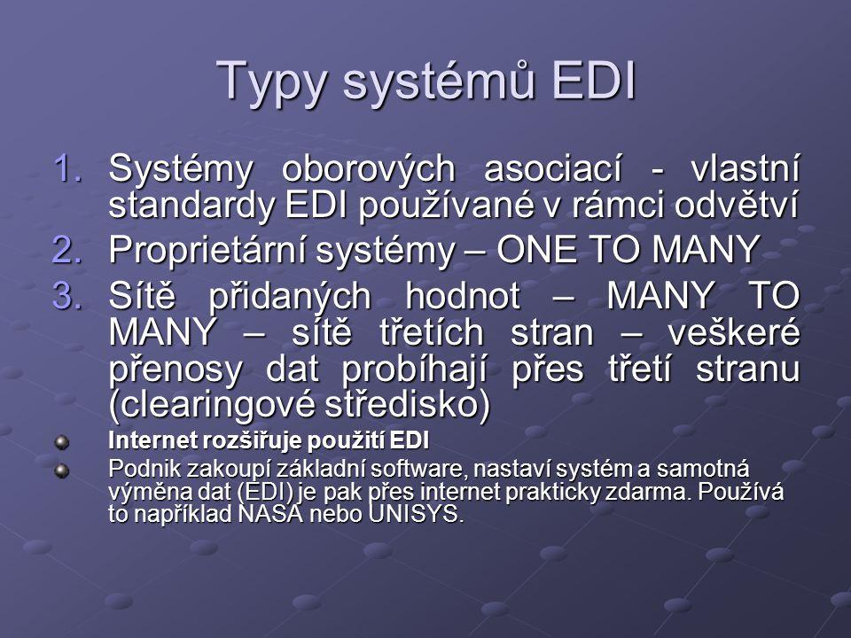 Typy systémů EDI 1.Systémy oborových asociací - vlastní standardy EDI používané v rámci odvětví 2.Proprietární systémy – ONE TO MANY 3.Sítě přidaných