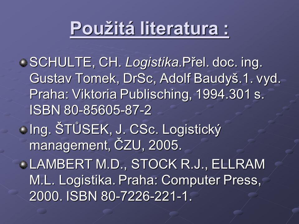 Použitá literatura : SCHULTE, CH. Logistika.Přel. doc. ing. Gustav Tomek, DrSc, Adolf Baudyš.1. vyd. Praha: Viktoria Publisching, 1994.301 s. ISBN 80-