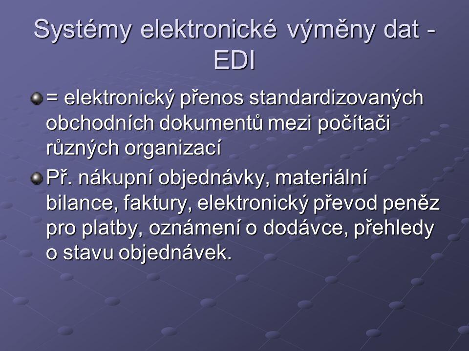 Systémy elektronické výměny dat - EDI = elektronický přenos standardizovaných obchodních dokumentů mezi počítači různých organizací Př. nákupní objedn