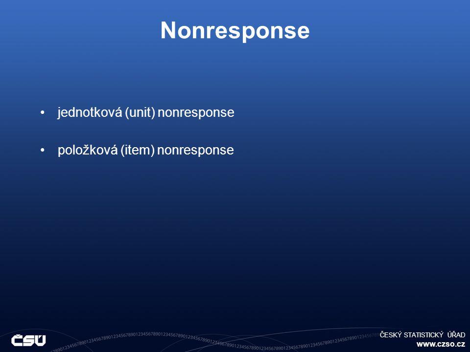 ČESKÝ STATISTICKÝ ÚŘAD www.czso.cz Nonresponse jednotková (unit) nonresponse položková (item) nonresponse