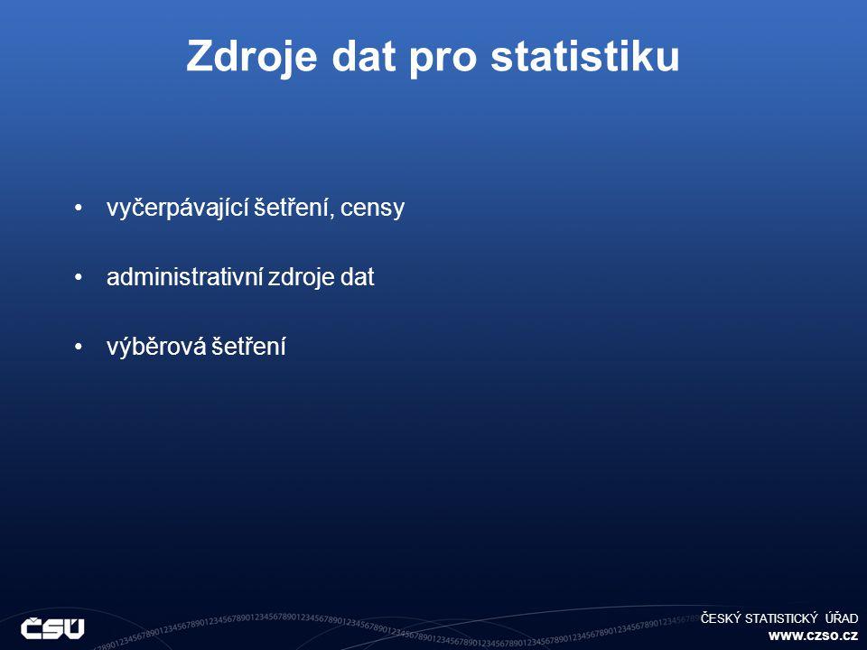 ČESKÝ STATISTICKÝ ÚŘAD www.czso.cz Zdroje dat pro statistiku vyčerpávající šetření, censy administrativní zdroje dat výběrová šetření