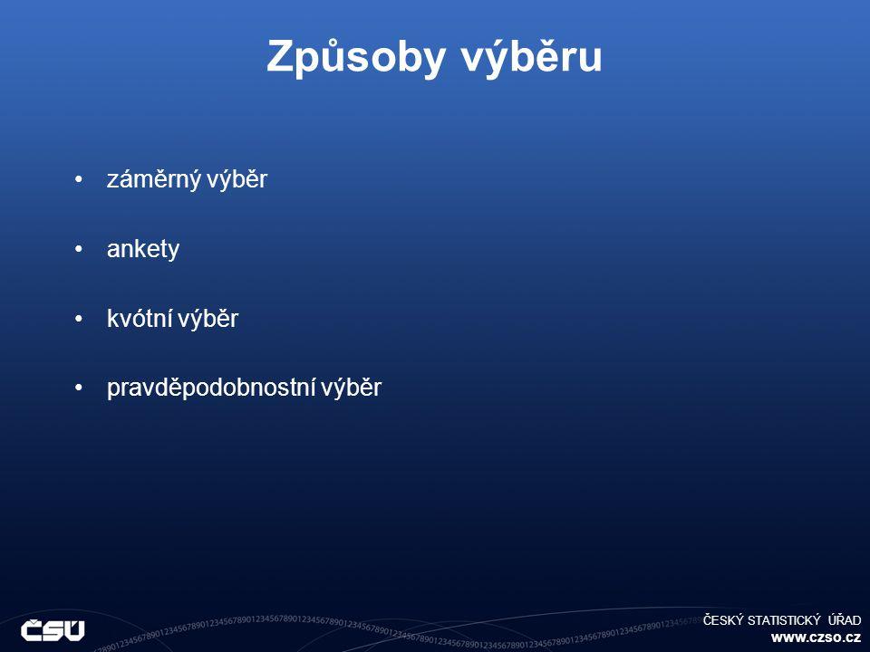 ČESKÝ STATISTICKÝ ÚŘAD www.czso.cz Způsoby výběru záměrný výběr ankety kvótní výběr pravděpodobnostní výběr