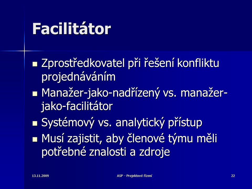 Facilitátor Zprostředkovatel při řešení konfliktu projednáváním Zprostředkovatel při řešení konfliktu projednáváním Manažer-jako-nadřízený vs. manažer