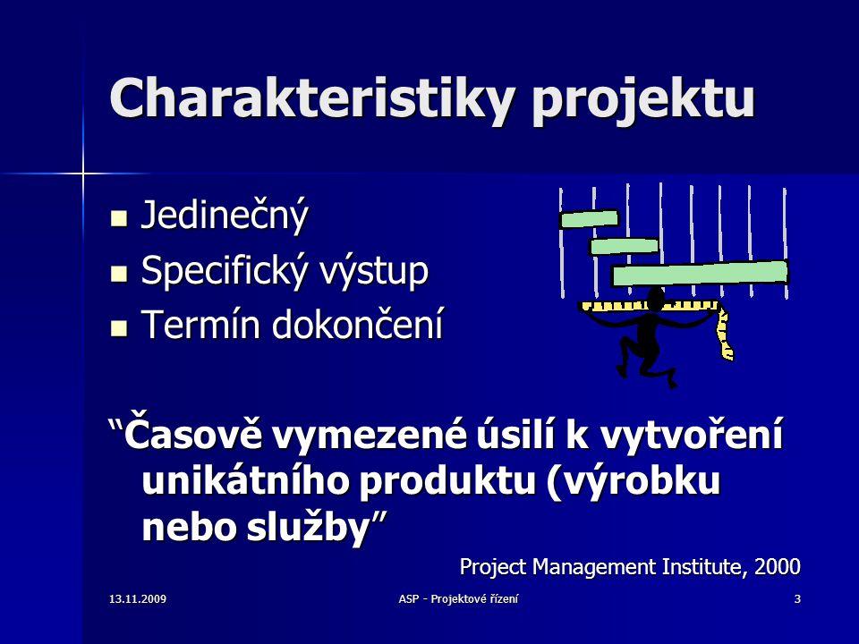 Harmonogram Harmonogram –Časový průběh, milníky Požadavky na zdroje Požadavky na zdroje –Odhadované náklaedy –Režie, fixní náklady Personál Personál –Speciální kvalifikační požadavky –Potřebný výcvik –Legislativní požadavky (předpisy, pravidla, …) 13.11.200934ASP - Projektové řízení Prvky projektového plánu - 3