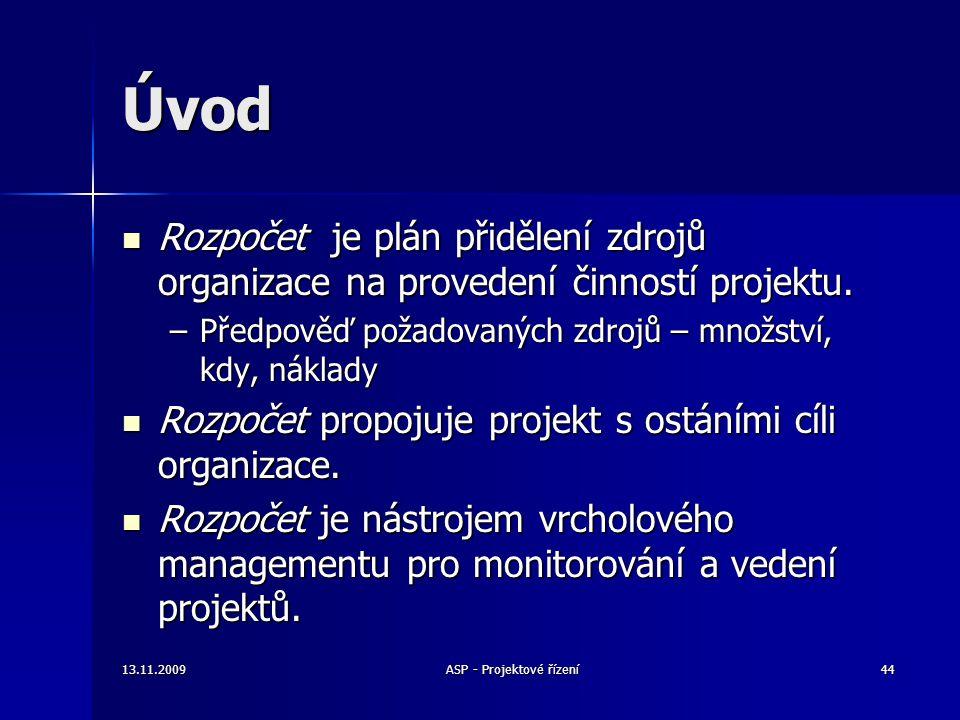 Úvod Rozpočet je plán přidělení zdrojů organizace na provedení činností projektu. Rozpočet je plán přidělení zdrojů organizace na provedení činností p