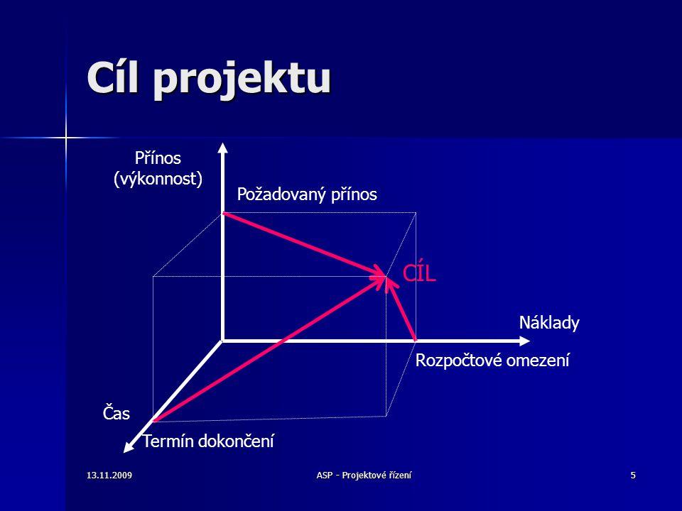 Cíl projektu Náklady Čas Přínos (výkonnost) Požadovaný přínos Rozpočtové omezení Termín dokončení CÍL 13.11.20095ASP - Projektové řízení