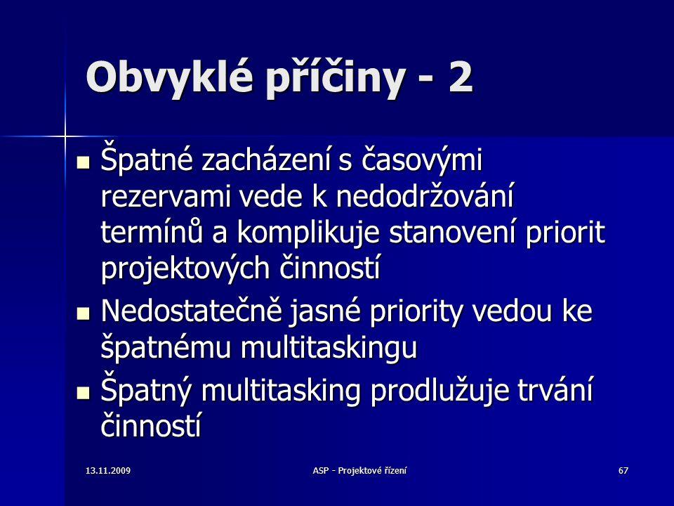 Obvyklé příčiny - 2 Špatné zacházení s časovými rezervami vede k nedodržování termínů a komplikuje stanovení priorit projektových činností Špatné zach