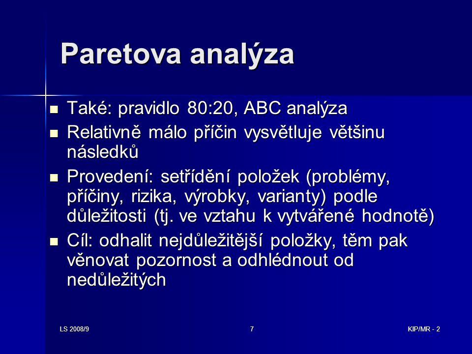 LS 2008/97KIP/MR - 2 Paretova analýza Také: pravidlo 80:20, ABC analýza Také: pravidlo 80:20, ABC analýza Relativně málo příčin vysvětluje většinu nás