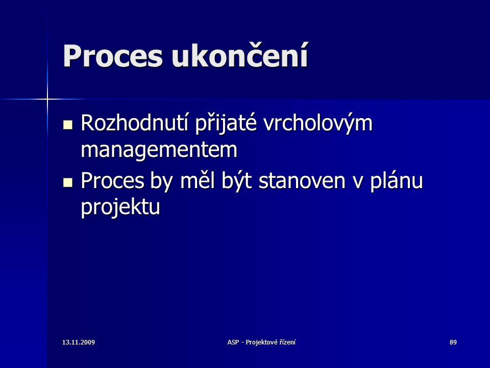 Proces ukončení Rozhodnutí přijaté vrcholovým managementem Rozhodnutí přijaté vrcholovým managementem Proces by měl být stanoven v plánu projektu Proc