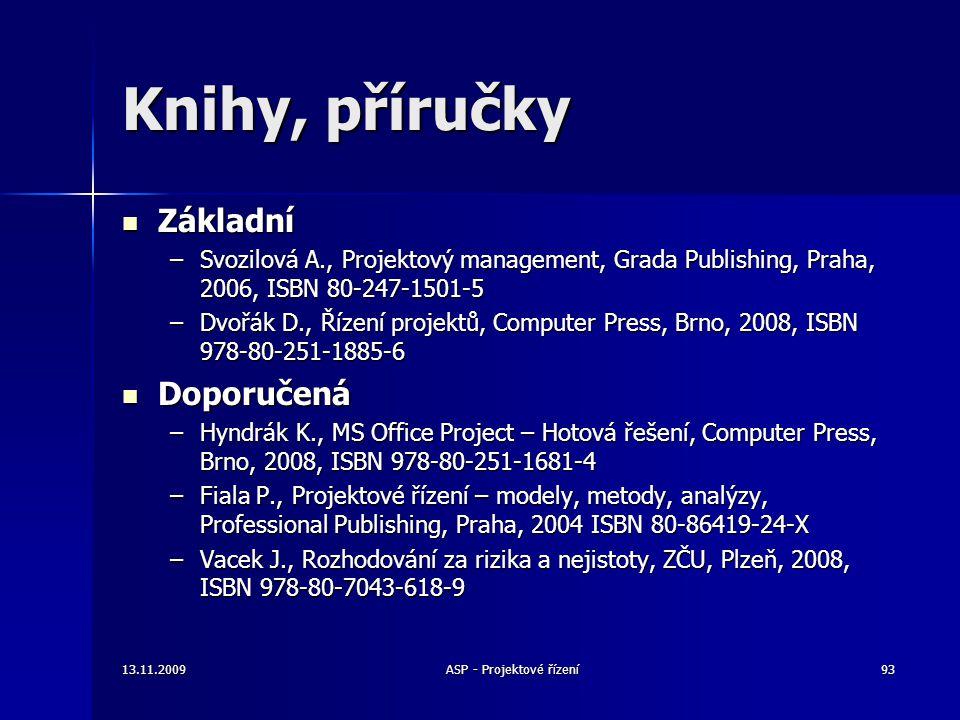 13.11.2009ASP - Projektové řízení93 Knihy, příručky Základní Základní –Svozilová A., Projektový management, Grada Publishing, Praha, 2006, ISBN 80-247