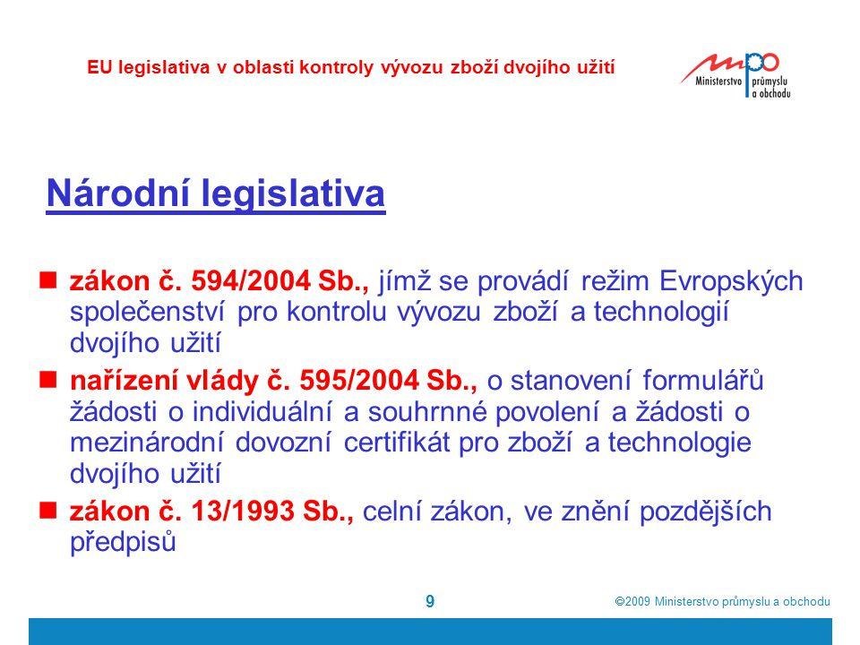  2009  Ministerstvo průmyslu a obchodu 9 Národní legislativa zákon č. 594/2004 Sb., jímž se provádí režim Evropských společenství pro kontrolu vývo