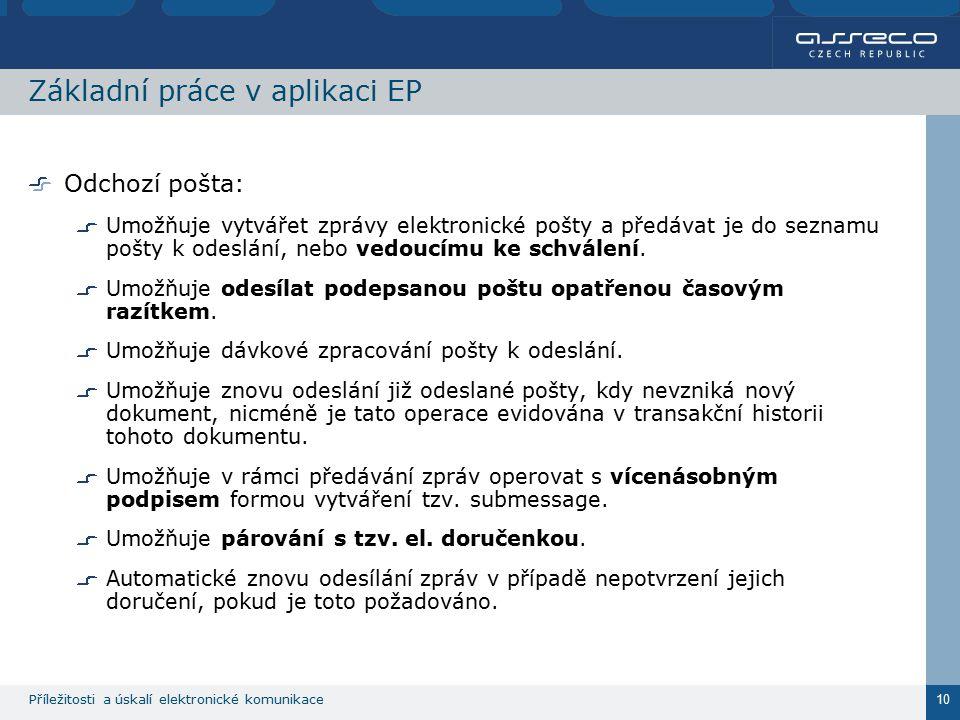 Příležitosti a úskalí elektronické komunikace 10 Základní práce v aplikaci EP Odchozí pošta: Umožňuje vytvářet zprávy elektronické pošty a předávat je