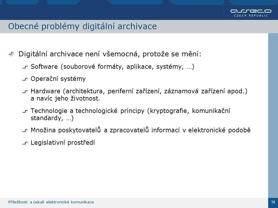 Příležitosti a úskalí elektronické komunikace 14 Obecné problémy digitální archivace Digitální archivace není všemocná, protože se mění: Software (sou