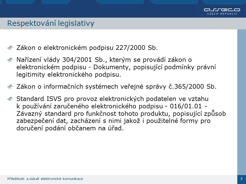 Příležitosti a úskalí elektronické komunikace 2 Respektování legislativy Zákon o elektronickém podpisu 227/2000 Sb. Nařízení vlády 304/2001 Sb., který