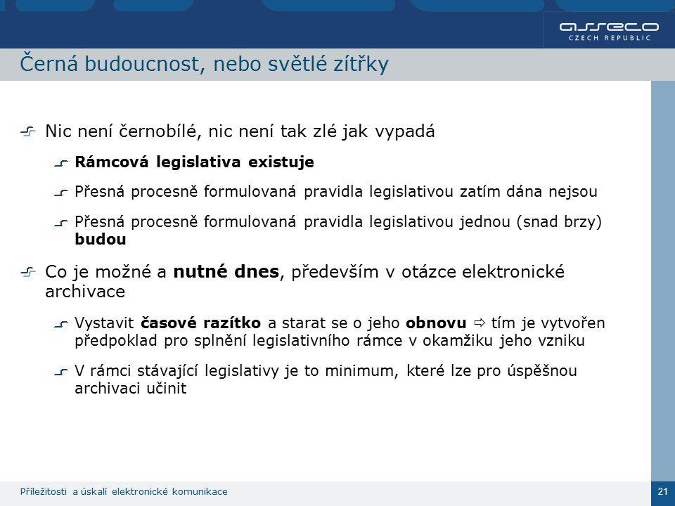 Příležitosti a úskalí elektronické komunikace 21 Černá budoucnost, nebo světlé zítřky Nic není černobílé, nic není tak zlé jak vypadá Rámcová legislat