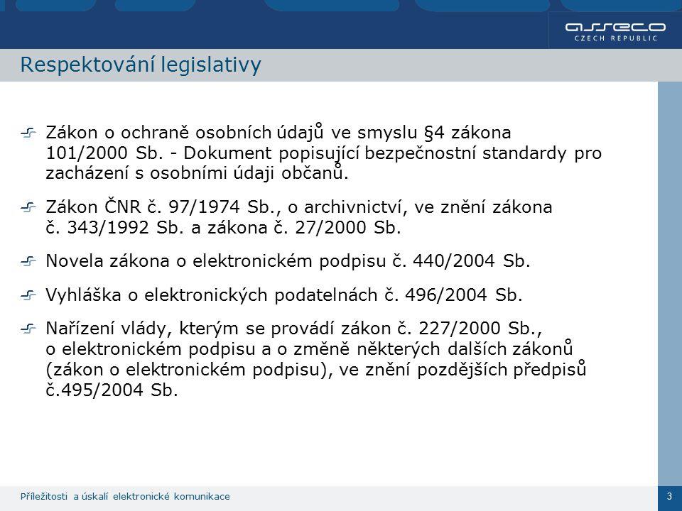 Příležitosti a úskalí elektronické komunikace 3 Respektování legislativy Zákon o ochraně osobních údajů ve smyslu §4 zákona 101/2000 Sb. - Dokument po