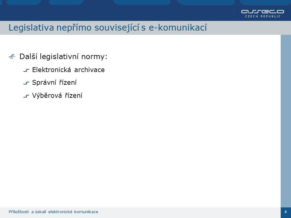Příležitosti a úskalí elektronické komunikace 4 Legislativa nepřímo související s e-komunikací Další legislativní normy: Elektronická archivace Správní řízení Výběrová řízení