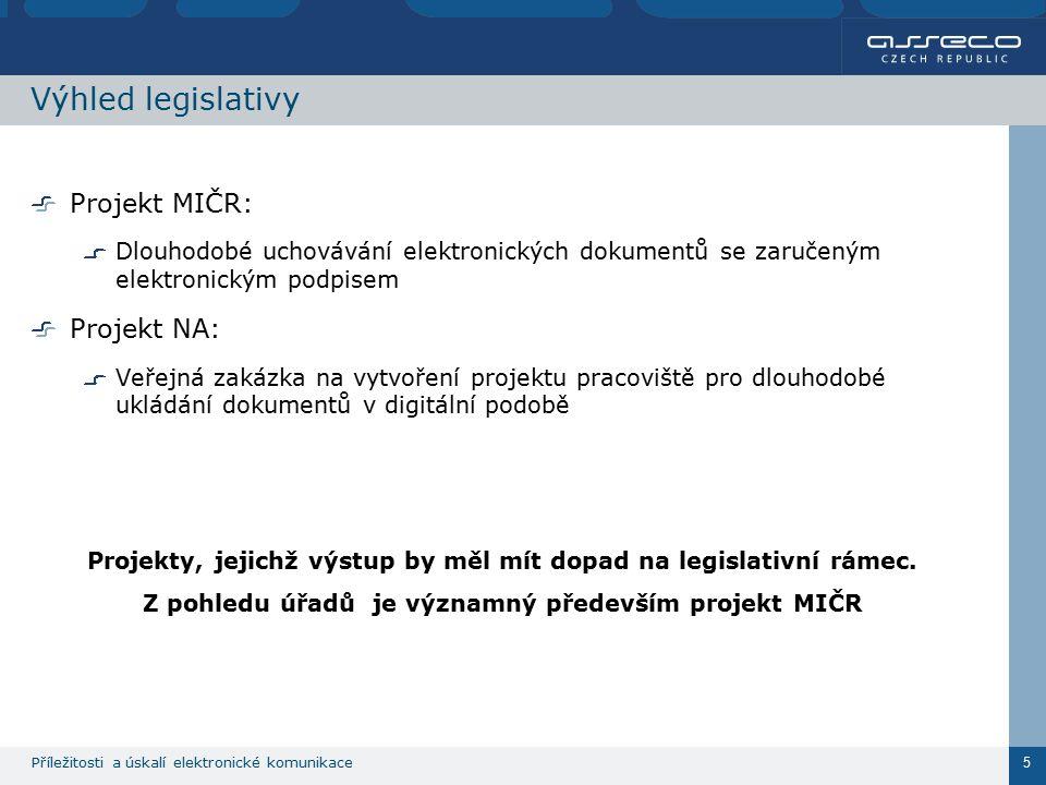 Příležitosti a úskalí elektronické komunikace 5 Výhled legislativy Projekt MIČR: Dlouhodobé uchovávání elektronických dokumentů se zaručeným elektronickým podpisem Projekt NA: Veřejná zakázka na vytvoření projektu pracoviště pro dlouhodobé ukládání dokumentů v digitální podobě Projekty, jejichž výstup by měl mít dopad na legislativní rámec.