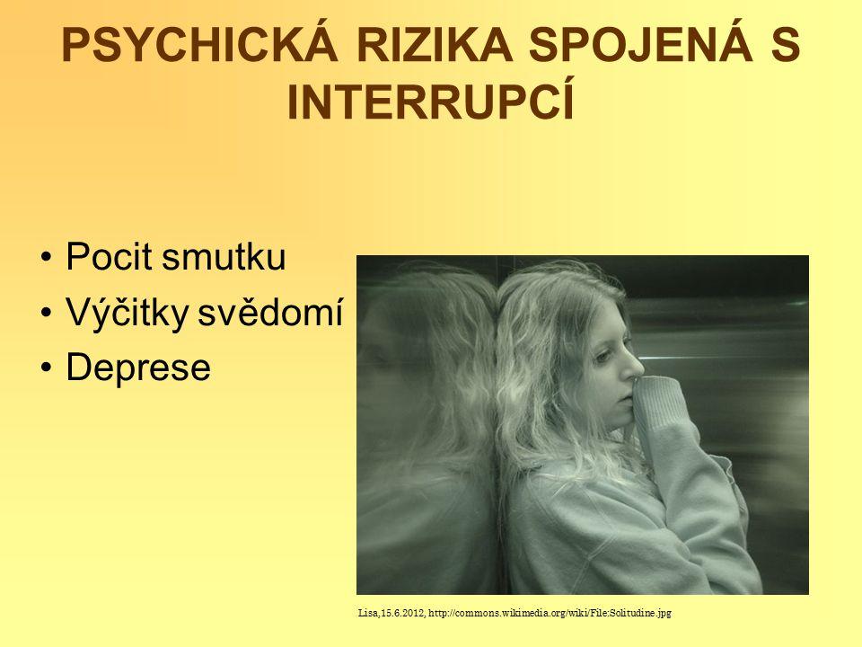 PSYCHICKÁ RIZIKA SPOJENÁ S INTERRUPCÍ Pocit smutku Výčitky svědomí Deprese Lisa,15.6.2012, http://commons.wikimedia.org/wiki/File:Solitudine.jpg