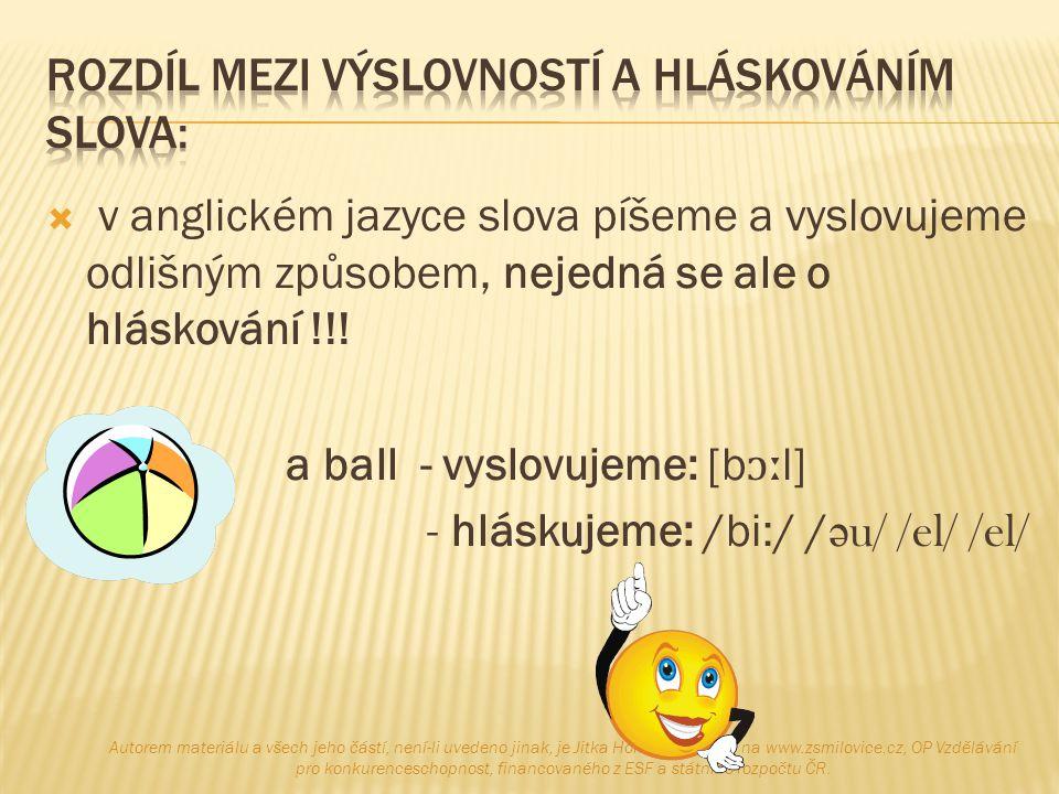  v anglickém jazyce slova píšeme a vyslovujeme odlišným způsobem, nejedná se ale o hláskování !!!  a ball - vyslovujeme: [b ɔː l]  - hláskujeme: /b