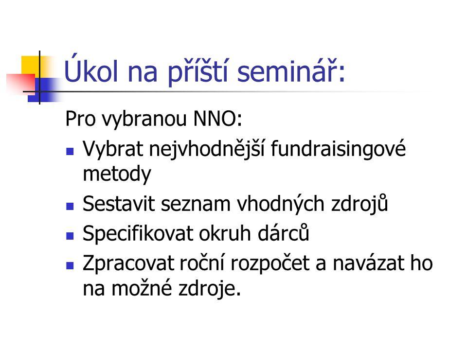 Úkol na příští seminář: Pro vybranou NNO: Vybrat nejvhodnější fundraisingové metody Sestavit seznam vhodných zdrojů Specifikovat okruh dárců Zpracovat