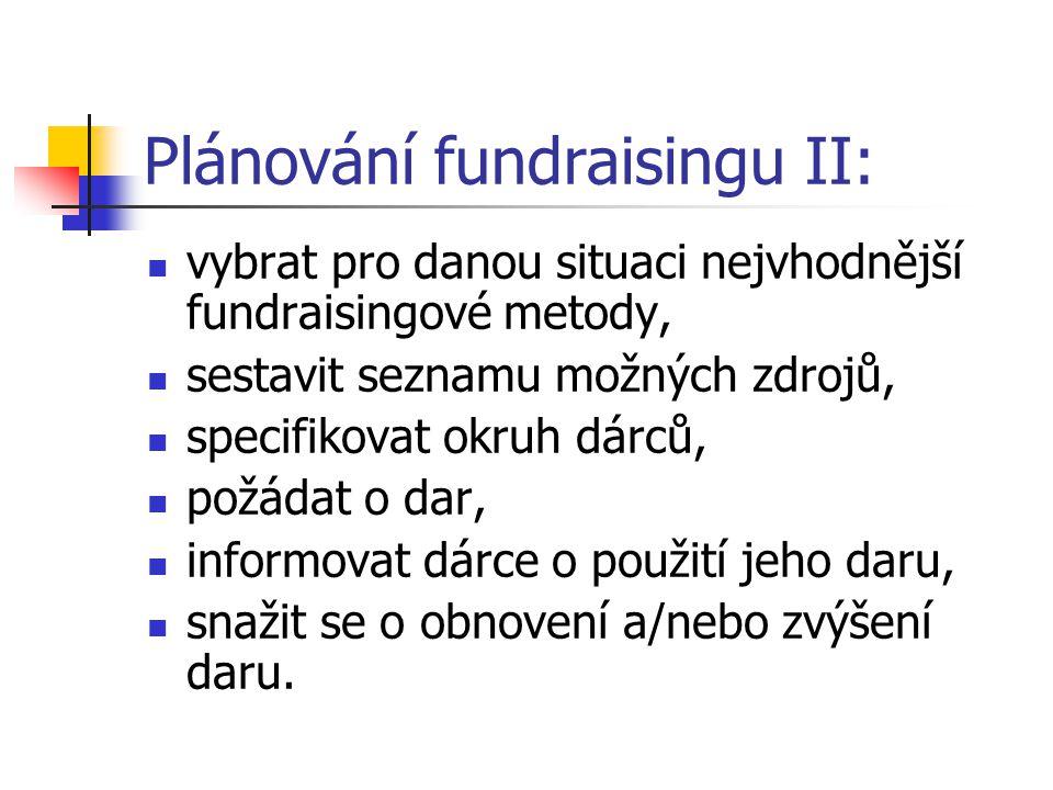 Plánování fundraisingu II: vybrat pro danou situaci nejvhodnější fundraisingové metody, sestavit seznamu možných zdrojů, specifikovat okruh dárců, pož