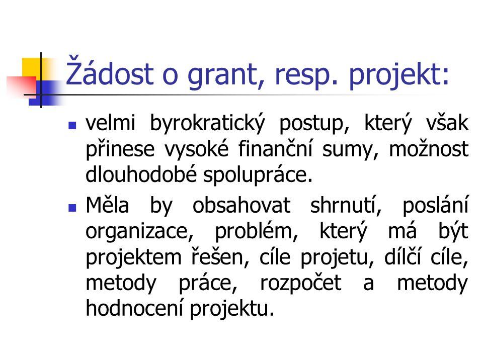 Žádost o grant, resp. projekt: velmi byrokratický postup, který však přinese vysoké finanční sumy, možnost dlouhodobé spolupráce. Měla by obsahovat sh