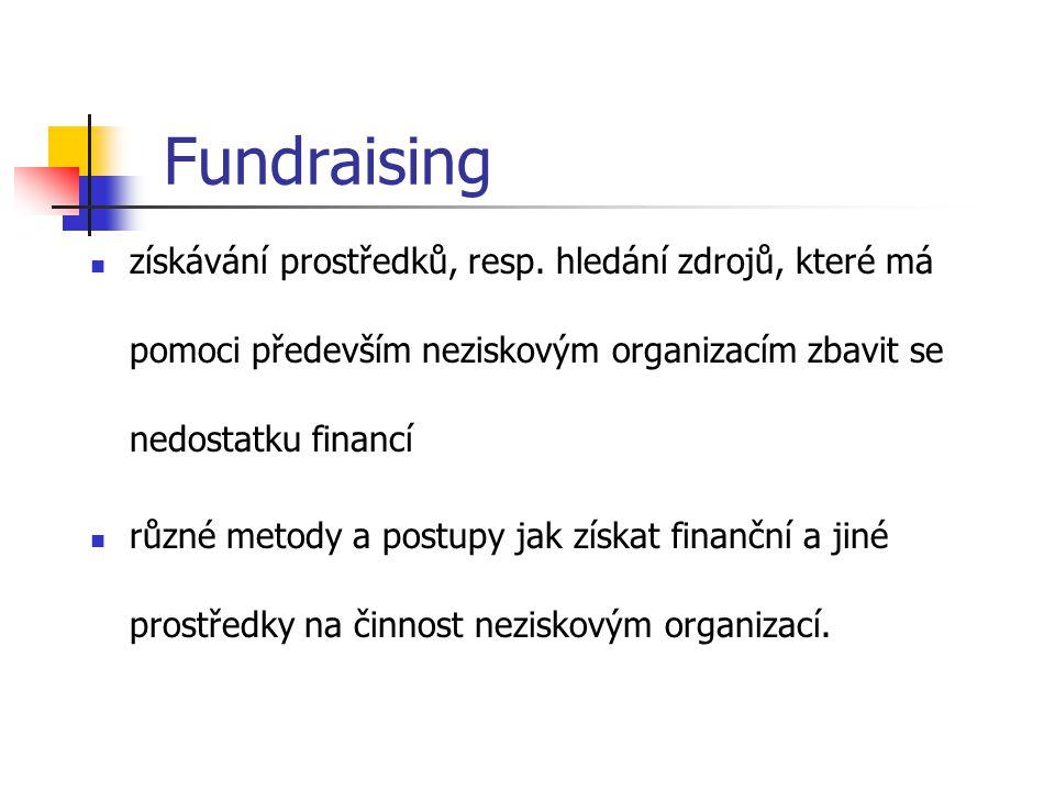 Druhy příjmů neziskových organizací: členské příspěvky, příspěvky státního a obecního rozpočtu, fondů a nadací (většinou v podobě grantů), dary od občanů a firem, tržby z vlastní činnosti.