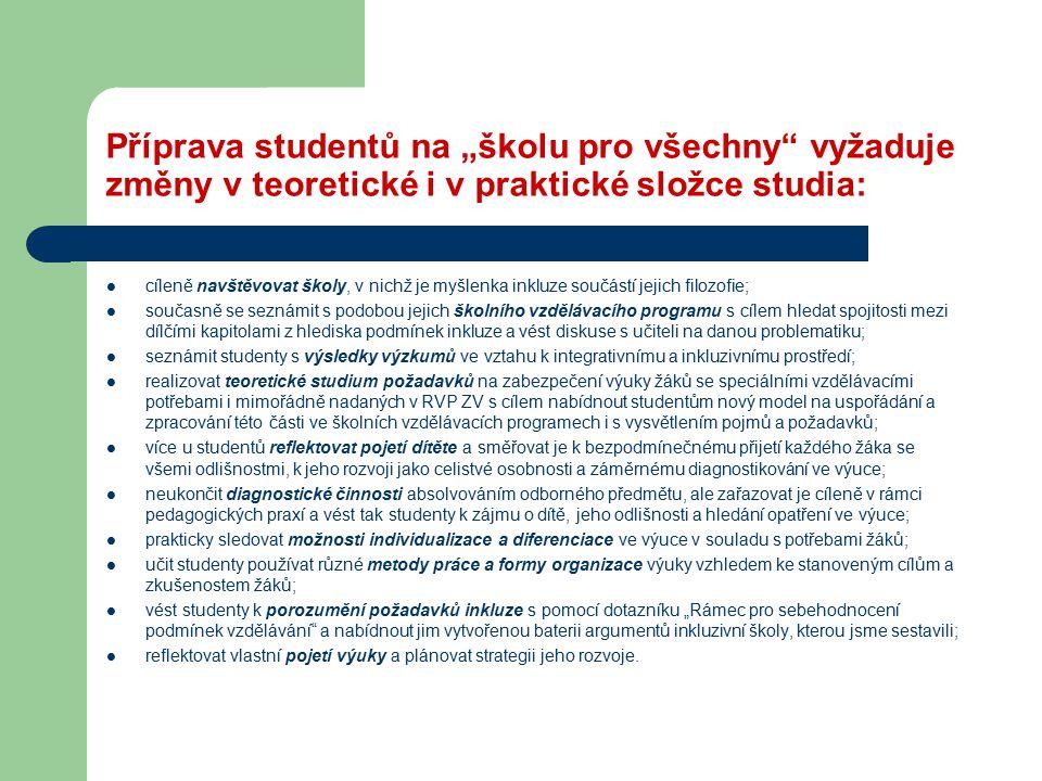 """Příprava studentů na """"školu pro všechny"""" vyžaduje změny v teoretické i v praktické složce studia: cíleně navštěvovat školy, v nichž je myšlenka inkluz"""