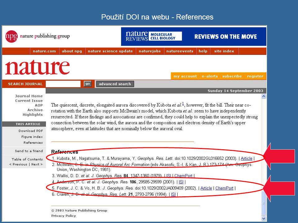 Použití DOI na webu - References