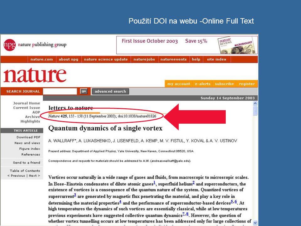 Použití DOI na webu -Online Full Text