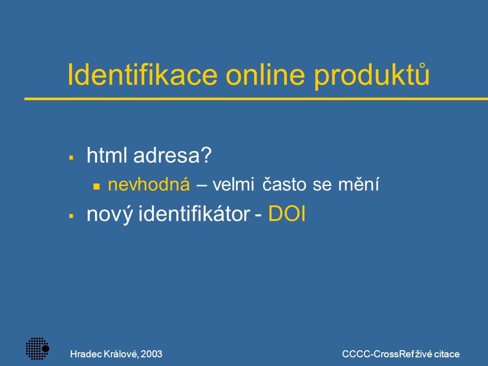 Hradec Králové, 2003CCCC-CrossRef živé citace DOI  Digital Object Identifier  výhody: trvalý identifikátor – nemění se s časem administraci provádí vydavatel