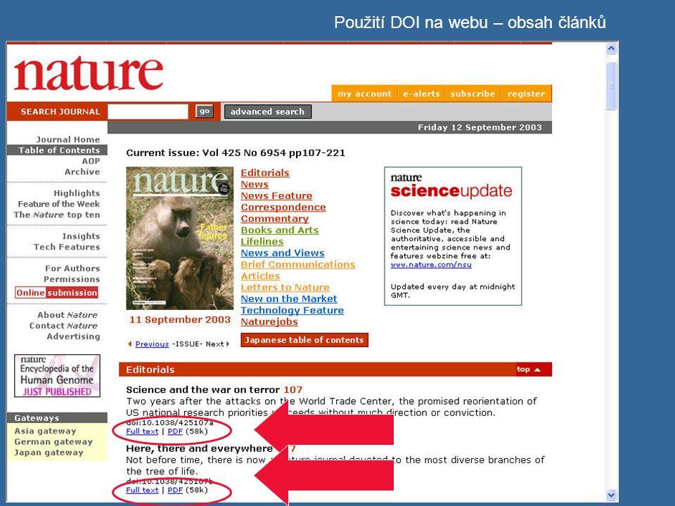 Použití DOI na webu – obsah článků